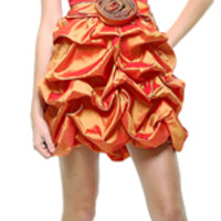 SALE! Orange Poly Taffeta Strapless Short Prom Dress