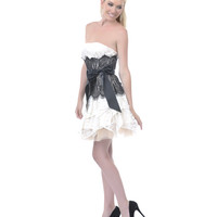SALE! 2013 Homecoming Dresses - Ivory & Black Lace Strapless Short Dress