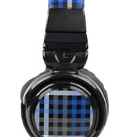 NWOB PB Teen Blue Plaid Headphones