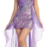 2013 Prom Dresses - Lavender Chiffon & Sequin High-Low One Shoulder Prom Dress