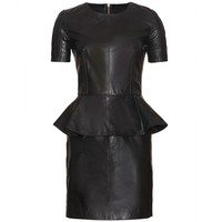 LEATHER DRESS WITH PEPLUM