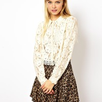 Cropped Blouse with Heavy Lace