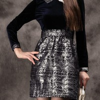 Black Velvet & Metallic Contrast Collared Dress