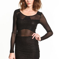 GLITTER MESH BODYCON DRESS
