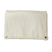 LEATHERETTE CLUTCH WHITE LEATHER GOLD CHAIN POUCH PURSE HANDBAG at Miss Dandy | Miss Dandy