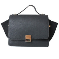MINI TRAPEZE BLACK LEATHER LUGGAGE SMALL BAG LOOK A LIKE PURSE TREND at Miss Dandy | Miss Dandy