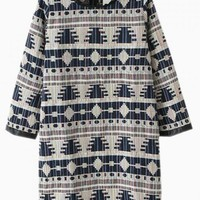 Gray Tribal Embroidered Tunic Dress
