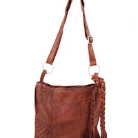 BROWN BOHO PATCHED LEATHER FRINGE CROSSBODY BAG PURSE HANDBAG at Miss Dandy | Miss Dandy