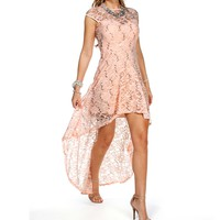 Virginia-Blush Sequin Hi Low Dress