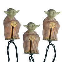 Kurt S. Adler 10-Light Star Wars Plastic Yoda Light Set, 30-Inch Lead Wire and 12-Inch Spacing.