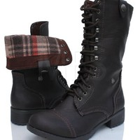 Women's Dark Brown Lace-up Combat Folded Cuff Riding Mid-Calf Boots Soda Oralee