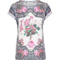 GIRLS CREAM BAROQUE TAPESTRY PRINT T-SHIRT