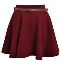Ditzy Fashion Women's News Belted Skater Flared Jersey Plain Mini Party Dress Skirt
