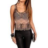 Tan Beaded Embellished Top