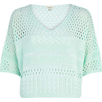 LIGHT GREEN MIXED STITCH CROPPED JUMPER