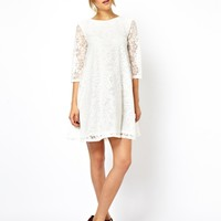 ASOS PETITE Lace Swing Dress with Half Sleeve