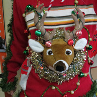 3-D Trophy Deer Head tangled in lights and ornaments Ugly Chrismtas Sweater Wild Garland Light UP custom Made Free Shipping