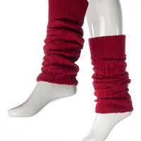 Sneak a Peek Cable Knit Leg Warmers - Red