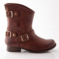 Triple Trouble Three Buckle Ankle Boots - Cognac