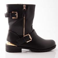 Show of Shows Gold Heel Faux Leather Boots - Black
