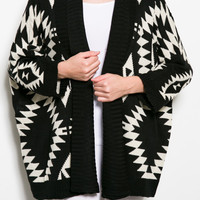 Aztec Open Sweater Cardigan Black & White