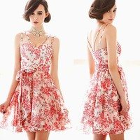 Womens Floral Printed Sleeveless Spaghetti Strap Bow Waistband Dresses Sundress