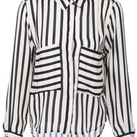 ROMWE | ROMWE Black Striped Print Long-sleeved Apricot Blouse, The Latest Street Fashion