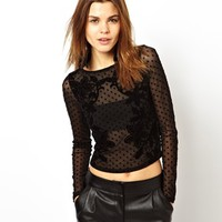 ASOS Top with Velvet Lace Flocking