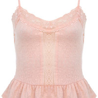 Blush Peplum Jacquard Cami - Tops - Apparel