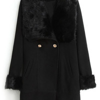ROMWE | Romwe Double-breasted Faux Fur Lapel Black Coat, The Latest Street Fashion