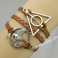 Deathly Hallows,Bracelets,Mockingjay,Mockingjay pin bracelet,catching fire,Harry Potter,leather bracelet,hunger,couples bracelet,games,brown