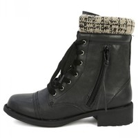 Qupid Relax-120 Black Sweater Cuff Ankle Boots | MakeMeChic.com
