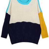 Color Block Cable Sweater