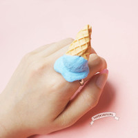Broken Blueberry Ice Cream Ring kawaii funny food jewelry