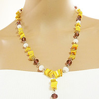 Yellow Necklace Beaded Necklace with Glass Beads in Shades of Yellow, White and Maroon - Long Dangle Necklace for Women - Gift for Her