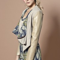 Cream Faux leather Jacket - African printed
