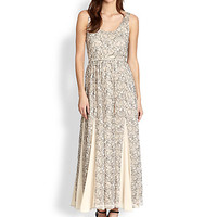 Kravit Pleated Lace Maxi Dress