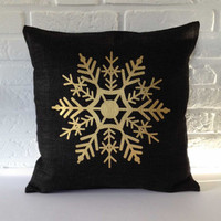 Christmas Pillow cover, Cushion cover, Snowflake Pillow case, Throw pillow, Holiday pillow, black gold 16 x 16, 18 x 18, 20 x 20 inch