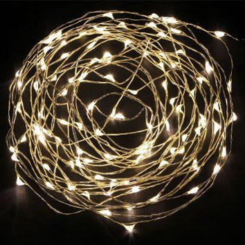 NexScene Starry Durable DC Copper Coating 10M/33FT Copper Wire Flexible Lights 100 LED For Wedding Christmas Party Holiday with 12V Power Adapter (Warm White)
