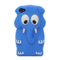 3D Cartoon Cute Elephant Silicone Soft Case Cover for iPhone 4 4G 4S Dark Blue