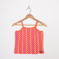 chevron top, zig-zag top, chevron stripe top, zig-zag stripe top, tank top, 90s crop top orange pink 90s top 90s grunge top club kid top xs