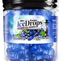 Ultra Premium Blueberry Hookah Ice DropsTM Smoking GEL 50 gram Jar. Huge Clouds, Amazing Taste!® 100 % Tobacco and Nicotine free! Better taste better clouds than tobacco!TM Made in USA by The Beamer® Hookah Company