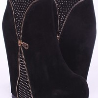 BLACK VELVET ZIPPER BEADING ACCENT PLATFORM WEDGE BOOTIES