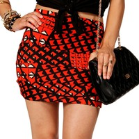 SALE-Orange/Black Banded Mini Skirt