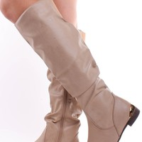 TAUPE CRINKLE SCRUNCHY GOLD DETAIL KNEE HIGH RIDING BOOTS