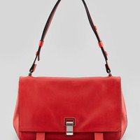 Proenza Schouler PS Courier Leather Satchel Bag, Red