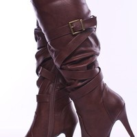 BROWN CRINKLE LEATHER CRISS CROSS STRAPPY KNEE HIGH HEEL BOOTS