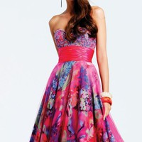 Printed Tulle Dress by Faviana
