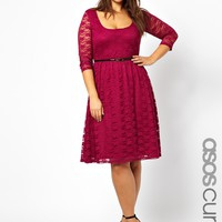 ASOS CURVE Exclusive Midi Dress In Lace With Belt