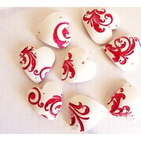 French Red Valentines Hearts - Set Of5 Porcelain Or Clay Ornaments. | Luulla